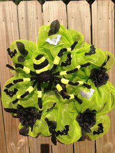 Fall Halloween wreath chartreuse and black by DreamCharmDesigns