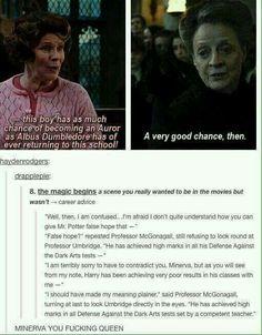 McGonagall defending Harry Potter against Umbridge
