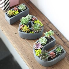 I Love U-shaped Mini Cement Flower Pot Garden Succulent Plant Heart-shaped Flower Pot Kit - 395917 For Sale, Buy from Pots & Planters collection at MyDeal for best discounts. Cement Flower Pots, Concrete Pots, Cactus Flower, Flower Bookey, Flower Film, Cactus Pot, Planting Succulents, Planting Flowers, Succulent Plants