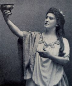 1890 Lillian Nordica as Isolde in Wagner's opera 'Tristan and Isolde'.  Soprano Lillian Nordica [Norton] was born Farmington, Maine on 12th May 1857 and died in Java on 10th May 1914.  During one of her tours and on 27th December 1913 her ship was grounded on a coral reef in the Torres Strait, she caught pneumonia and died in Batavia, Java.    by painting in light