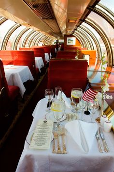 Gourmet dining car in Napa Valley wine train. Photo courtesy of Napa Valley wine train.