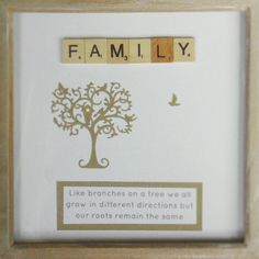 """Family ♥ """"Like branches on a tree we all grow in different directions but our roots remain the same"""" frame Remain The Same, Branches, Roots, Frame, Decor, Picture Frame, A Frame, Decorating, Dekoration"""