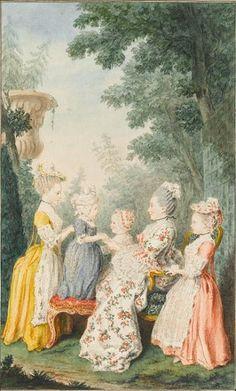 Louis Carrogis dit Carmontelle (1717-1806) Madame la présidente de Lamoignon and children