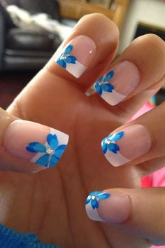 Cute flower printed summer wedding nail art
