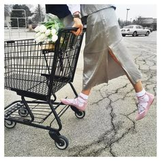 """#Shopping in #style spark your day with riding the cart! loving my new #balletflats #laceup I'm SO #happy anklets #happysocks I've got my #flowers for the…"""