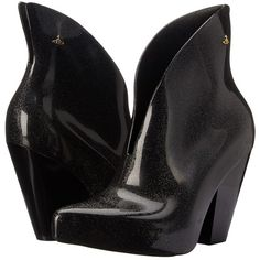 Vivienne Westwood Anglomania + Melissa Satir Boot (Black Glitter)... ($130) ❤ liked on Polyvore featuring shoes, boots, black, black pointed toe boots, pointed toe boots, synthetic boots, black pull on boots and slip on boots