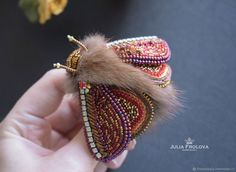 """Beaded brooch butterfly """"Foxberry"""" – shop online on Livemaster with shipping"""