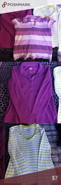 Old Navy bundle-3 shirts! One magenta long sleeve polo-style shirt, size small. One lightweight white and yellow striped shirt, long sleeves, size medium. One striped polo-style short sleeved shirt in lavender and pink hues. All fit about the same, small and medium fit almost identical on me.  Selling as a bundle to hopefully move these fast! They are in EUC, no holes or stains. Don't ever remember even wearing the white and yellow one-so it's like new! Old Navy Tops
