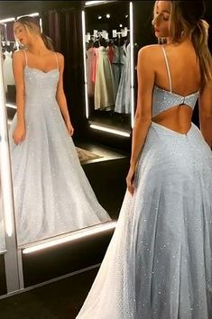 Sparkly backless dress tulle floor length prom dresses cheap long evening gowns on sale Cheap Long Dresses, Trendy Dresses, Formal Dresses, Dress Long, Fancy Dress, Open Dress, Long Prom Gowns, Evening Gowns On Sale, Lace Evening Dresses