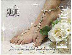 Paris Chic! PARISIAN pearls rhinestones elite Barefoot sandals