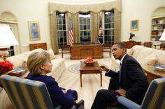 President Obama meets with Sec.of State Clinton in the Oval Office  shortly after she was confirmed and sworn in,1/21/2009.