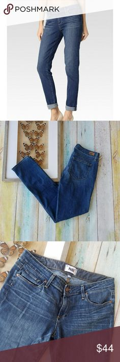Anthro PAIGE Jimmy Jimmy Skinny Denim Jeans 27 Great classix pair of jeans in a fitted skinny leg. Low rise and medium wash. Made by PAIGE, a brand carried by Anthropologie, size 27. 69% cotton, 30% polyester, 1% elastane. In good condition. PAIGE Jeans Skinny