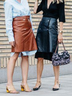 skirt alert. Stockholm. DVF with leather over