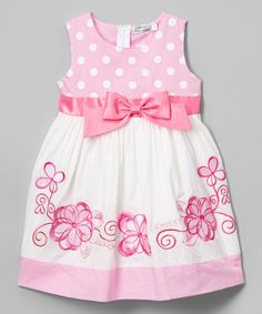 Pink Floral Dot A-Line Dress - Toddler & Girls