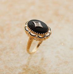 Vintage Black Onyx and Diamond Ring by SITFineJewelry on Etsy, $1785.00