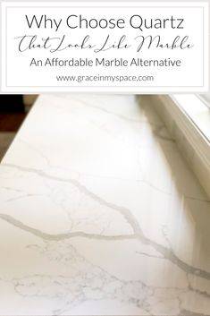 Affordable Quartz that Looks Like Marble Do you love the look of marble countertops? Consider quartz that looks like marble for a maintenance free and affordable marble alternative. Faux Marble Countertop, Quartz Kitchen Countertops, Marble Countertops, Porcelain Countertops, Countertop Decor, Kitchen Cabinets, Granite Slab, White Cabinets, Kitchen Redo