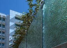 "UC Davis Medical Center- Sacramento, CA  Texture: MD202 Flow   1/2"" Clear Tempered Kiln-Fired Glass"