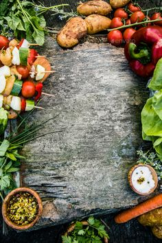 Vegetables by mythja. Vegetables, herbs and spices. Organic vegetables on wood Food Background Wallpapers, Food Wallpaper, Food Backgrounds, Organic Vegetables, Healthy Vegetables, Healthy Food To Lose Weight, Variety Of Fruits, Cafe Food, Easy Healthy Recipes