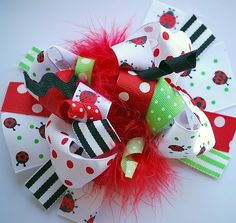 boutique FUNKY fun LADYBUG hair bow clip by andjane on Etsy, $12.99