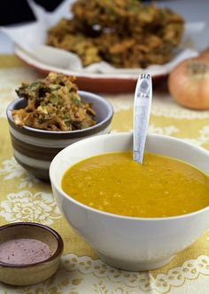CURRIED SQUASH SOUP & ONION SPINACH BHAJI