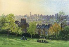 Telegraph Hill, London, Watercolour, plein air Rob Adams of The Brass Monkeys London