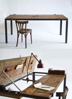 This desk made from a vintage iron frame door. A large table, it is also a desk with storage: designed by Manoteca