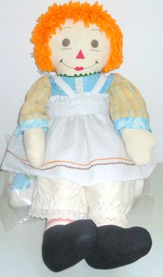 "VINTAGE RAGGEDY ANN DOLL 25"" TALL DOLL  COLLECTIBLE WITH CLOTH FORWARD FEET #Dolls  (size is an indication the doll was made in the 1970's)"