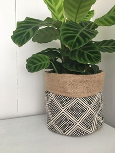 Modern wanderer hessian planter bag by restoregrace on Etsy accent pieces Modern Wanderer Reversible Hessian Planter Bag Hessian Fabric, Hessian Bags, Plastic Planter, Plastic Pots, Potted Plants, Indoor Plants, Plant Bags, Plant Covers, Plant Decor