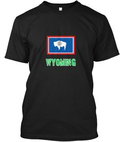 Wyoming Flag Stencil Green Design Black T-Shirt Front