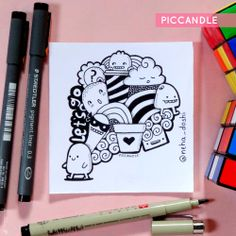 Fabulous Drawing On Creativity Ideas. Captivating Drawing On Creativity Ideas. Cute Doodle Art, Doodle Art Designs, Doodle Art Drawing, Pencil Art Drawings, Kawaii Drawings, Cute Drawings, Cute Art, Art Sketches, Doodle Doodle