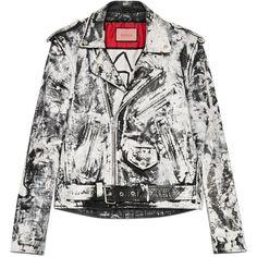 Guccighost Biker Jacket ($6,680) ❤ liked on Polyvore featuring men's fashion, men's clothing, men's outerwear, men's jackets, black, mens fleece lined jacket, mens leather jackets, gucci mens jacket, mens leather biker jacket and men's embroidered bomber jacket