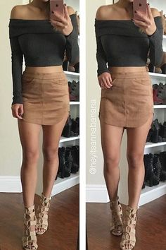 Non-stretchy, faux suede mini skirt features double pockets on the front and a full-length, metallic button-up panel. Model is wearing a small All measurements are for a small Length from waist to hem