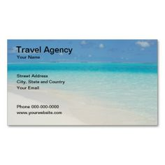 Travel Agency Business Card. This great business card design is available for customization. All text style, colors, sizes can be modified to fit your needs. Just click the image to learn more!