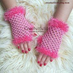 Candy pink Crochet Mittens Fingerless Gloves Lace by Crochetfield