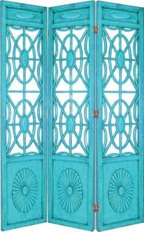 Turquoise Blue Spider Web Room Screen and other furniture & decor products. Decor, Teal, Screen Painting, Shades Of Blue, Tiffany Blue, Room Screen, Favorite Color, Folding Screen, Color