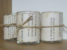 paris paper shabby chic votive candle holder