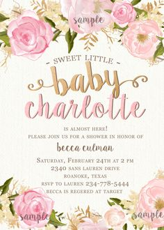 Pink gold floral watercolor baby shower invitations shower pink gold floral watercolor baby shower invitations shower invitations babies and unique baby shower filmwisefo Choice Image