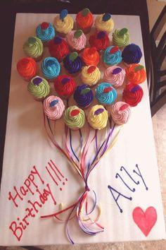 Balloon Cupcakes, Cute Cupcakes, Birthday Cupcakes, Pull Apart Cupcake Cake, Pull Apart Cake, Cupcake Cakes, Happy Birthday Cards, Birthday Fun, Birthday Parties