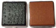 CLASSY KING SIZE CIGARETTE CASE BLACK BROWN PATTERN BOX QUALITY HINGED HOLDER