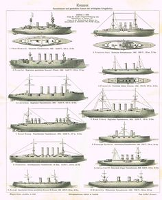 "Marine Print - Meyers Lexicon's ""CRUISERS (KREUZER)"" - Lithograph - 1913"