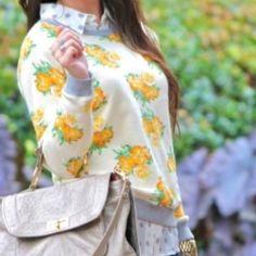"Mural Floral Sweatshirt Sweatshirt. Raglan-sleeve, cozy, pretty rose print and contrast trim. Grey, cream, and yellow colors. 23 1/2"" shoulder to hem. Cotton. Hand wash. Medium fits size 6-8. Gently worn. NO TRADES. Mural Tops"