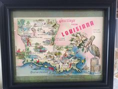 A personal favorite from my Etsy shop https://www.etsy.com/listing/516057851/8-x-10-framed-vintage-louisiana-map