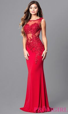 Lace-Applique Red Prom Dress from JVNX by Jovani - Herren- und Damenmode - Kleidung Prom Dresses 2015, Elegant Prom Dresses, Formal Dresses, Party Dresses, Prom Gowns, Ball Dresses, Red Lace Prom Dress, Dress Prom, Military Ball Gowns