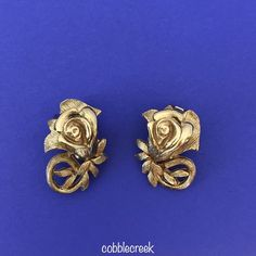 #Vintage Tortolani Signed Earrings Clip Roses Mid Century 1950s 1960s Goldtone #Tortolani #Clip #jewelry