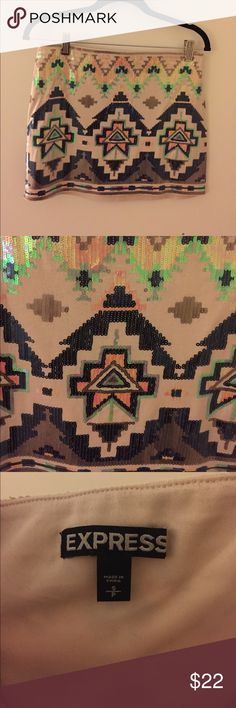 Express Sequined Tribal Print Stretchy Skirt Such a fun skirt from express! Colors in tribal print go with anything. Soft lining. Size Small. Express Skirts Mini