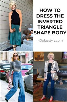 Do you have an inverted triangle body shape? Learn how to dress the inverted triangle body shape and create a fabulous capsule wardrobe to suit your body Inverted Triangle Outfits, Inverted Triangle Body, Triangle Body Shape, Fashion Bloggers Over 40, Fashion Over 50, 70s Fashion, Short Girl Fashion, Flattering Outfits, Body Shapes