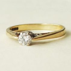 Vintage Diamond Engagement Ring, 9k Gold .20 ct Diamond Solitaire Wedding Ring Size Approx. US 6