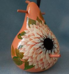 Hand Painted Pink Bird House Dahlia Gourd by HouseOfGourds on Etsy