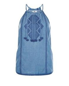 Blue Embroidered Fray Panel High Neck Cami  | New Look