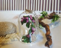 miniature tree glass terrarium,botanical necklace,real plant pendant,terrarium pendant,birthday gift,purple flower necklace,irish heather by CoraIreland on Etsy